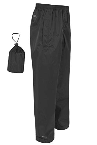 Mountain Warehouse Pakka Mens Waterproof Rain Over Trousers - Quick Dry Pants, Taped Seams Bottoms, Adjustable Ankle Opening & Packable Bottoms - for Travelling, Walking Black Medium