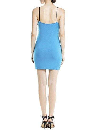 iB-iP Damen Baumwolle Spaghettiträger Nahtlose Kleides Mini Unterkleid Meer-blau