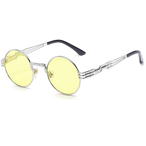 Klassische Sportsonnenbrille, Steampunk Goggles Sunglasses Men Women Brand Designer Vintage Round Sun Glasses For UV400 Female Male Retro Oculos QF022