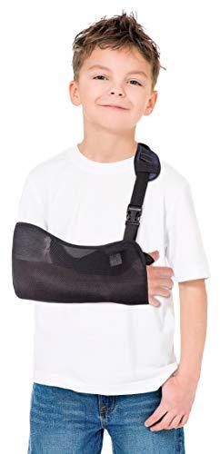 Tutore per braccio-Fascia di supporto per spalla e braccio- Fascia per braccio-Reggibraccio-Tutore -Rete Ergonomica, leggera e traspirante-Tracolla per braccio- BAMBINI Nero XX-Small