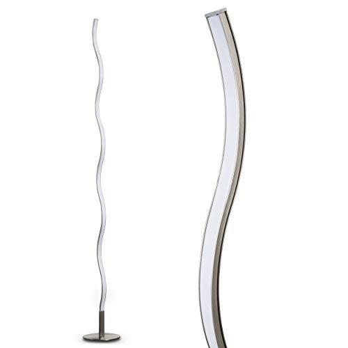 LED Stehleuchte Dillon aus Metall – geschwungene Bodenleuchte – Standlampe für Schlafzimmer, Wohnzimmer, Esszimmer – Retro-Stehlampe mit fest eingebauten LED – 3000 Kelvin – 1000 Lumen