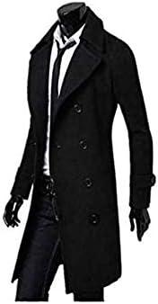 Men's Trench Coat Winter Jacket Double Breasted Overcoat black Size-XXL G8