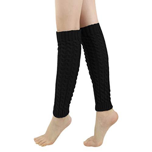 LADES DIRERCT Damen Stulpen - Stricken Beinstulpen Socken Mit Fersenloch Gestrickt Beinwärmer Ballett Yoga Stulpen Legwarmer Strümpfe 1980er Jahre Party Kleid (Schwarz 1)