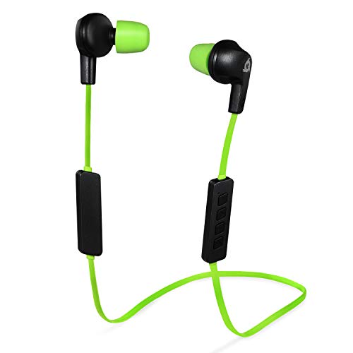 KLIM Pulse - Auriculares Bluetooth 4.1 - Nueva 2019 - Cascos inalámbricos - Reducción de Ruido Deporte, Música, Llamadas, Juegos, etc. Magnéticos, con Nueva Espuma de Memoria Verde