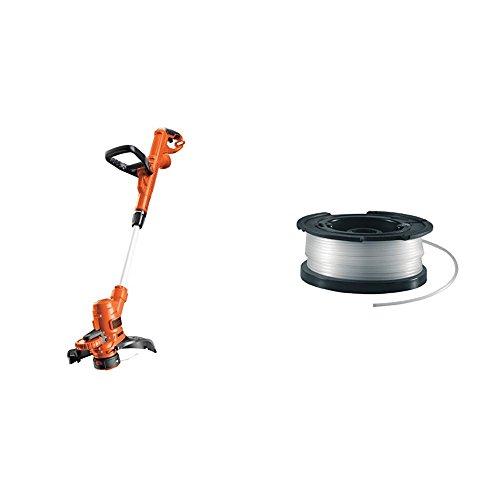 Black+Decker Rasentrimmer-Kit ST5530CAKIT, schwarz orange + vollautomatische Einzelfadenspule (für Rasentrimmer 10m Länge, 1.5mm Fadendurchmesser) A6481