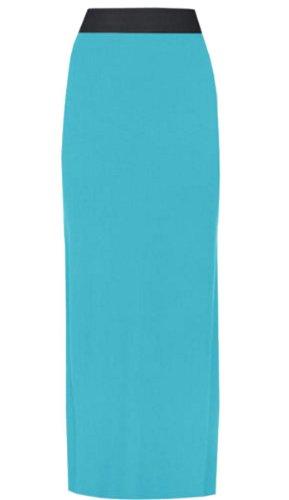 neuen Frauen große elastischer Bund-Streifen Größe dehnbar lange Maxi 36–54, Blau (Bund Streifen-elastischer)