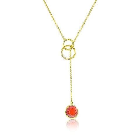 Plaqué or 18K Y en forme de chaîne collier Long avec pierre Grenat délicat rangés avec boîte cadeau