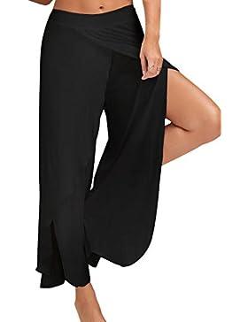 La Mujer De Talle Alto Corte Palazzo Sólidos Sueltos Pantalones Pantalones De Pierna Ancha