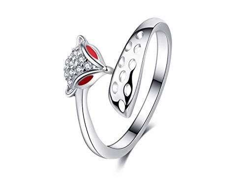 ZXH Schmuck S925 Sterling Silber offenen Ring Mode Fuchs Kopf Frau Persönlichkeit Ring