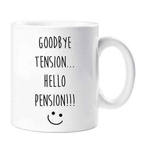 Goodbye Tensión Hello Pension Taza Dirigiéndose Regalo Jubilación Regalo