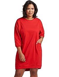 9fc0ff089c0f8f Zizzi Damen Sweatshirtkleid Langarm Basic Kleid Mit Taschen Große Größen 42- 56