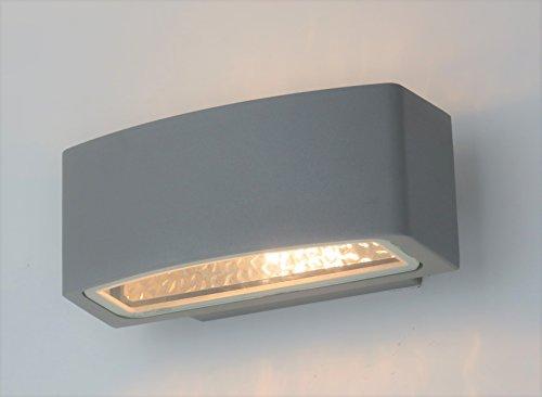 Applique lampada parete per esterno moderno silver rettangolare