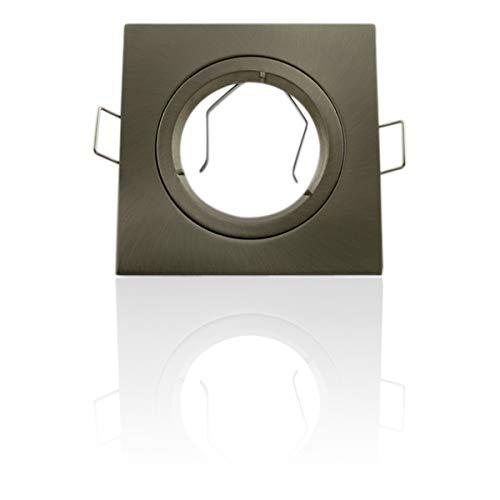 Support spot encastrable carré fixe Aluminium brossé - Aluminium brossé - GU10