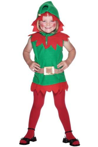 Children's Star Christmas Kostüm - Smiffys, Kleinkind Elfen Kostüm, Tunika mit Kapuze und Gürtel, Größe: T1, 26019