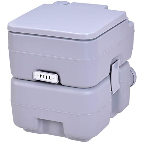 COSTWAY WC Chimique, Toilette Portable pour Camping Caravanes Hôpital, 20L HDPE Gris