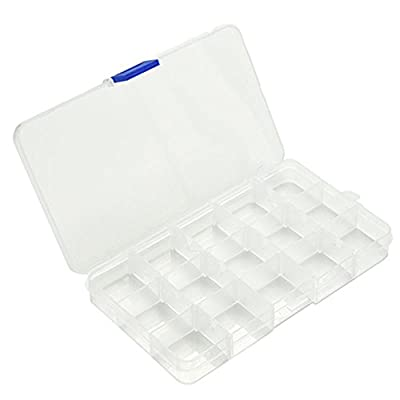 Nighteyes66 Adjustable 15 Slot Clear Plastic Jewelry Nail Tips Storage Box Organizer Fishing Lure Tackle Tools Container Case from Nighteyes66
