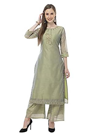 DesiNoor A Beautiful Fancy Designer kurta Palazzo set on Modal chanderi Fabric in Pista Green color with Zari check Palazzo DN119G