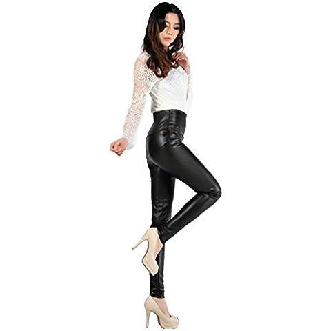 LvRao Señoras Leggins Pantalones Largos En Imitacion Cuero Leggings Moda Para Mujeres
