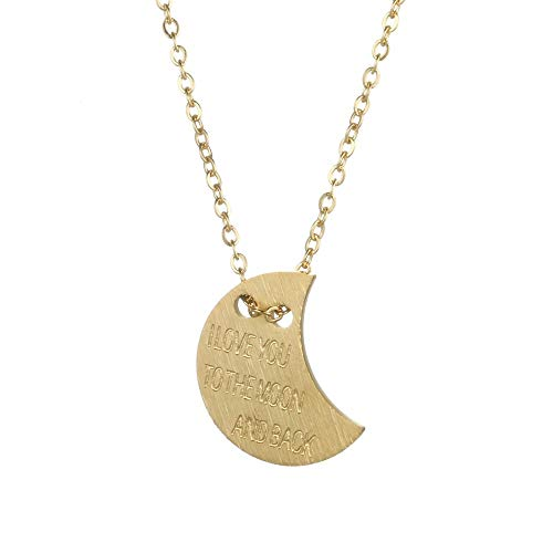 Tribal Spirit Kette Halbmond Edelstahl matt gebürstet I Love You to The Moon and Back vergoldet antiallergen Valentinstag