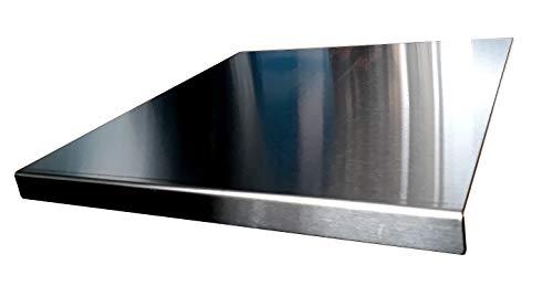 Avonstar Trading Co. Ltd. Arbeitsplatte aus Edelstahl zum Schneiden, flach oder rund, in verschiedenen Größen erhältlich, mit rutschfesten Gummifüßen, edelstahl, silber, 500 x 500 square fold