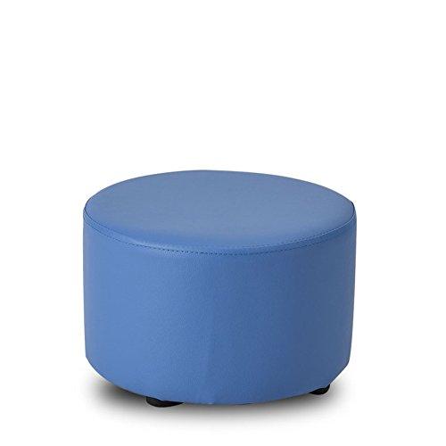 Blau Leder Osmanischen (✿Dreamer Kleine Feste Holz hocker Changing Shoes hocker Wohnzimmer Sofa hocker Kreativ Kind Leder Osmanischen-Blau 31x20cm(12x8inch))