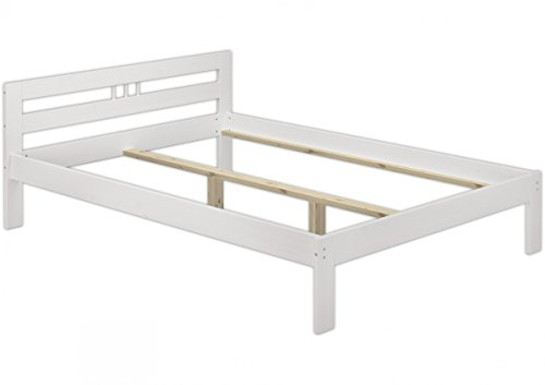 Erst-Holz® Bettgestell Kiefer massiv weiß Doppelbett 140x200 Französisches Bett ohne Rollrost 60.64-14 W oR - Kiefer Bettgestell