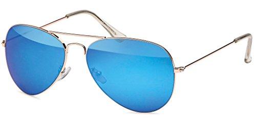 UVprotect Aviator Farbig Verspiegelt Sonnenbrille Gold Blau W17-5