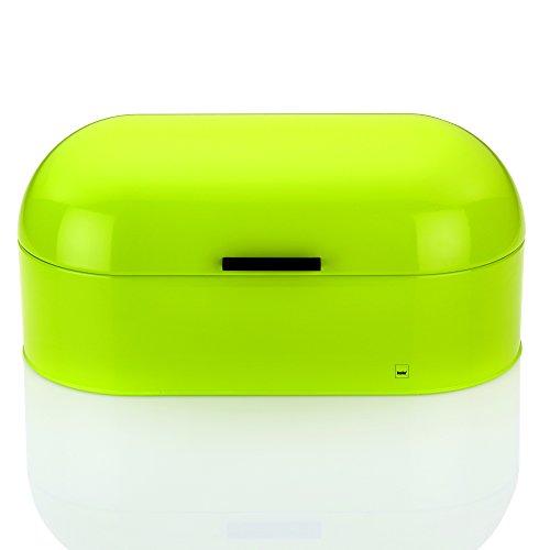 Kela 11172 boîte à pain, métal brillant, 44 x 21,5 cm, hauteur 21 cm, coloris vert, 'Frisco'