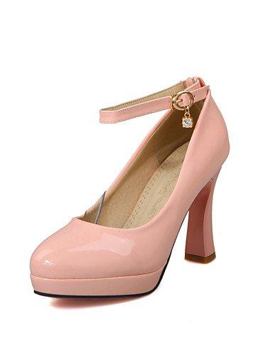 WSS 2016 chaussures en cuir verni talon chunky talons des femmes / tour bureau orteil talons&carrière / casual noir / rose / blanc white-us5 / eu35 / uk3 / cn34