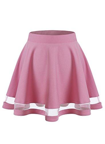 Wedtrend Damen Mädchen A-line Basic Solid Mini Skater Rock WTC10021 Rose Pink L