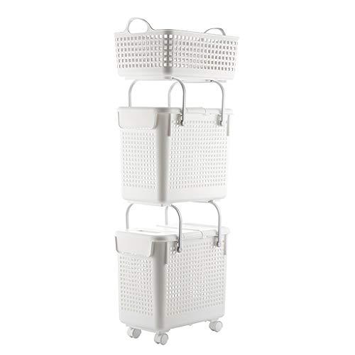 ALXLX Badezimmer Badezimmer Schmutzige Kleidung Kunststoff Aufbewahrungsbox Mit Rädern Weiß Ablagekorb Mit Deckel Ohne Deckel Haushaltsklassifizierung Wäschekorb (größe : 3 Tier) -