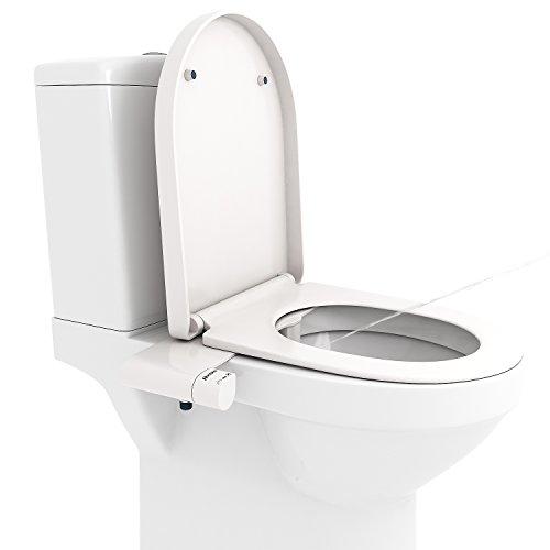 BATHWA WC Bidet Aufsatz Deluxe Comfort Bidet, Cold Water Bidet, Toilette Bidet Dusch ohne-WC mit Kalt und Warmwasser für Intimreinigung Taharet Weiß