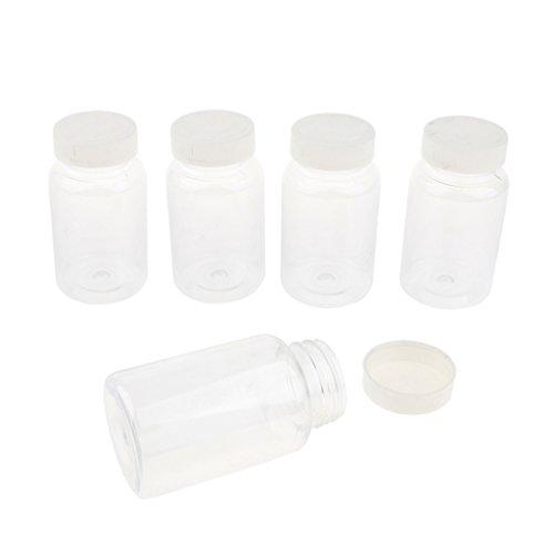perfk 5 Stück Flüssigkeit Probenahme Glasflaschen Probenflaschen mit Verschlusskappe Kapazität 150ml 200ml 220ml für Aceton Rauch Alkohol Säurelösung - Weiß 220ml -