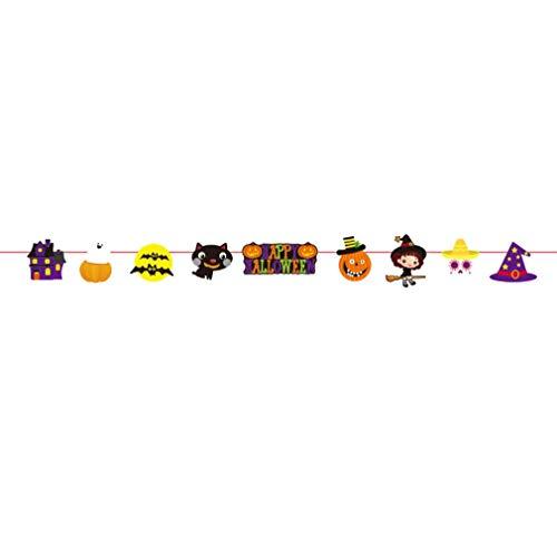 LANDFOX Ziehen Sie Blumen-Thema Lange hängende Flaggen-Fahne Halloween-Bestes Halloween Dekoration Bunting Pull Party Zum Geburtstag Dekoration Banner (Stoff) mit Bunten Gewebe (E)