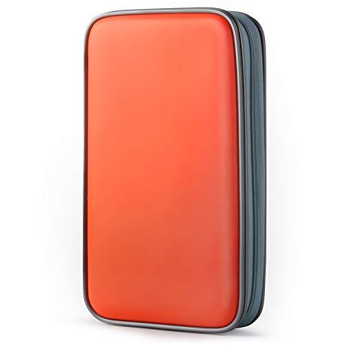 COOFIT CD Tasche, 80 CD/DVD Tasche DVD Lagerung CD Mappe CD Case DVD Case VCD Wallets Speicher Organizer Hard Plastik Schutz DVD Lagerung (Orange) Orange Hard Case