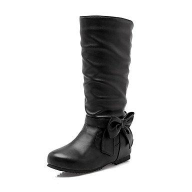 RTRY Scarpe donna pu Autunno Inverno Comfort moda Stivali Stivali Tacco a cuneo Round Toe stivali Mid-Calf Bowknot per Office & carriera abito giallo US12 / EU44 / UK10 / CN46