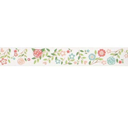 Hochzeit Blumen Washi Tape (1Rolle-9/40,6cm breit x 10,95Meter lang)-Pink & Grün Floral Klebeband, Geschenk Wrap Tape für Hochzeiten, Gastgeschenken, Tape, Floral Washi Tape