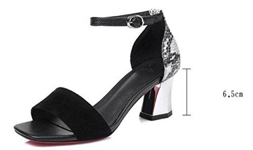 Beauqueen OL sandali traspiranti classici cinghie di caviglia 6.5 cm cinturino tacco fibbia open toe sandali della sorella delle donne di nozze dimensioni UE 34-42 Black