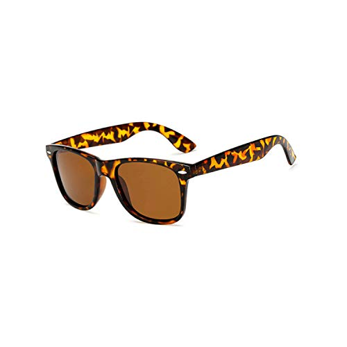 Vikimen Sportbrillen, Angeln Golfbrille,Brand Mens Polarisiert Sunglasses Women Square Mirror Sun Glasses Male Driving Classic Unisex Gafas Gafas UV400 Leopard Brown