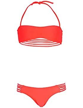Mon Mini Teenie Bikini Rosa Koralle - Mädchen Bikini mit Bandeau-Top