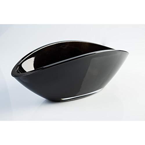 Ovale Glasschale / Dekoschale KIRA, schwarz, 26 x 12 cm - Obstschale - INNA Glas Ovale Schale