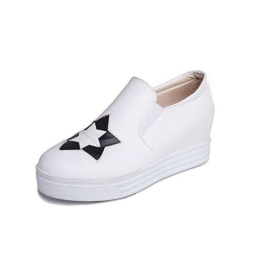AgooLar Damen Rund Schließen Zehe Mittler Absatz Gemischte Farbe Pumps Schuhe Weiß