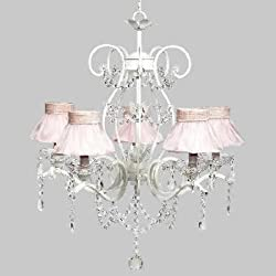 Jubilee Collection 7552-2771 5 Light Grace Chandelier with Pink Ruffled Sheer Skirt Shades, White