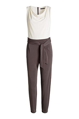 ESPRIT Collection Damen Straight Leg Jumpsuits mit Stretch, Gr. 36/L32 (Herstellergröße: S), Braun (Taupe 240) - 3