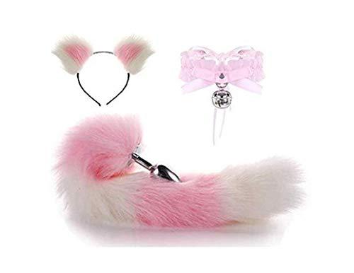 Jjek Cos Bell-Halsband - (rosa-weiß) Fluffy B-Ütt P-l-ǔ-g Fuchsschwanz Plüsch und Katze-Ohr-Anime-Set for Frauen Glamour Female Masquerade Props 3pcs (Size : S)