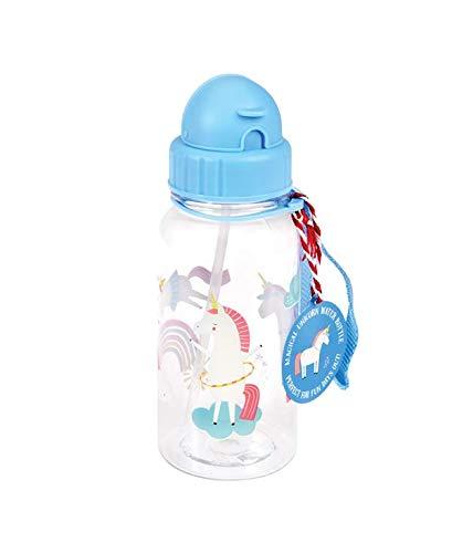 nder Wasserflasche Kindertrinkflasche mit Strohhalm Einhorn blau ()