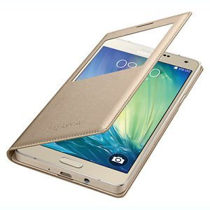 Window Leather Premium Flip Cover for Samsung Galaxy A9 Pro GOLD