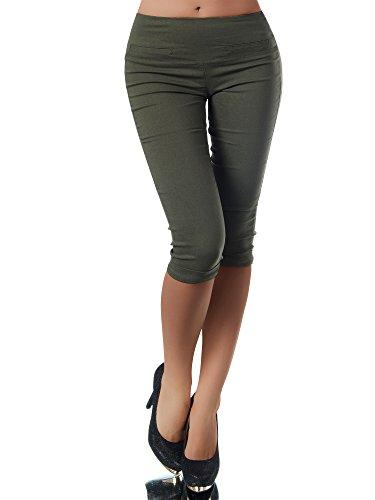 Diva-Jeans N830 Damen Caprihose Treggings Leggings Stoffhose Sommerhose Knielang 3/4 Capri, Größen:L, Farben:Khaki Denim Khaki Capris