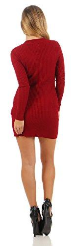 5284 Fashion4Young Damen Strick Kleid Feinstrick Minikleid Strickkleid Pullover V-Ausschnitt Damenstrickkleid Weinrot