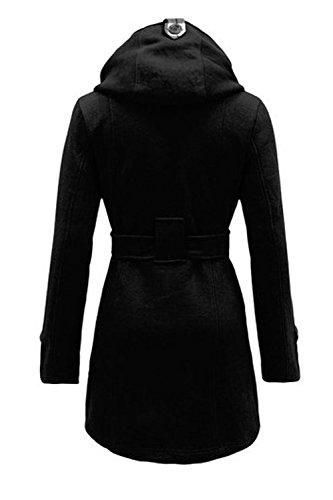 La Femme Est Le Revers Croisé Digne Slim L'hiver Veste Manteau Avec Ceinture Black